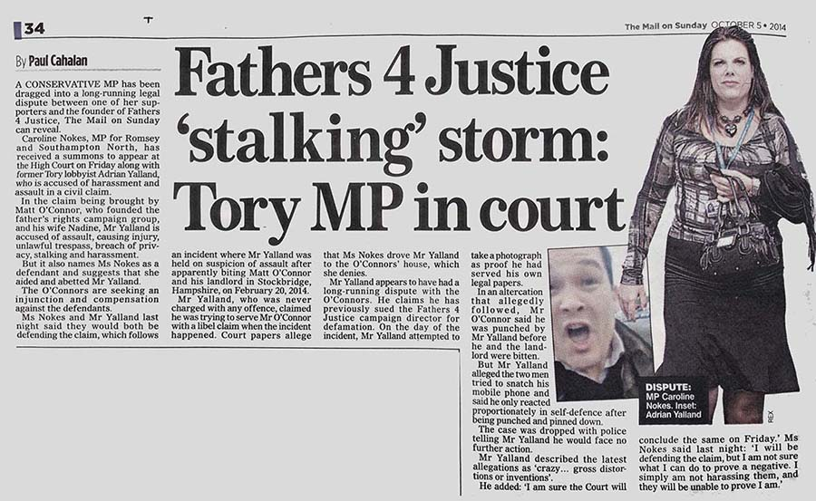 DAILY MAIL NOKES STALKING PAPER LO