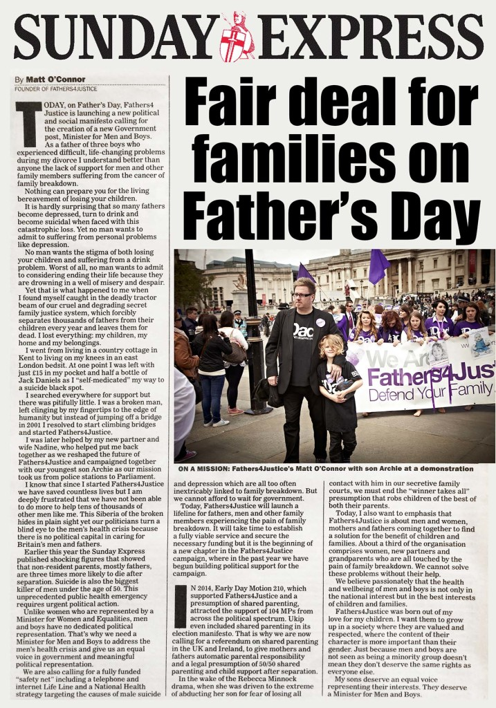 SUNDAY EXPRESS FATHER'S DAY COMMENT LO