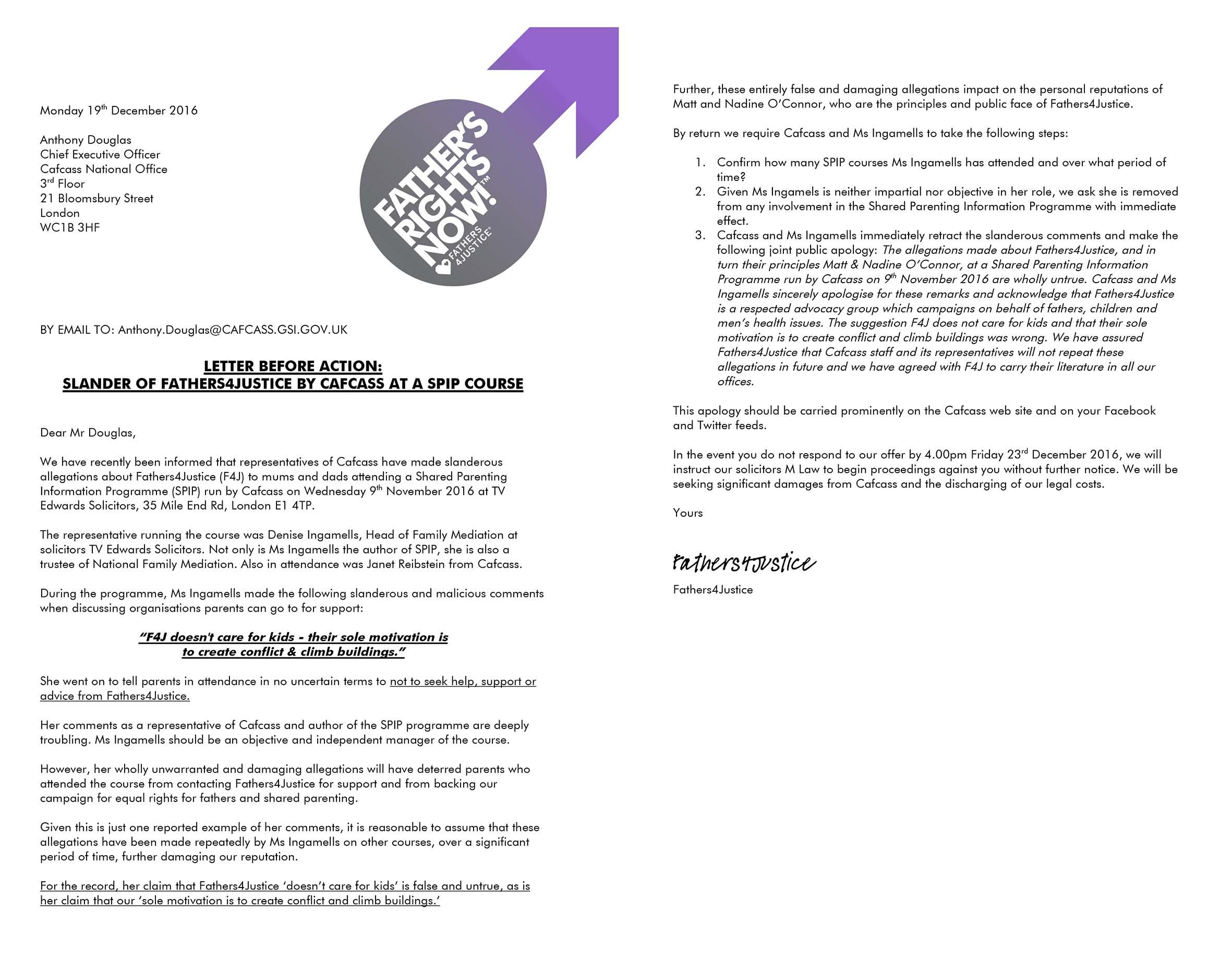 Microsoft Word - F4J CAFCASS SLANDER LETTER.docx